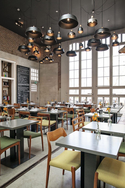 interior of hotel de Hallen restaurant in Amsterdam