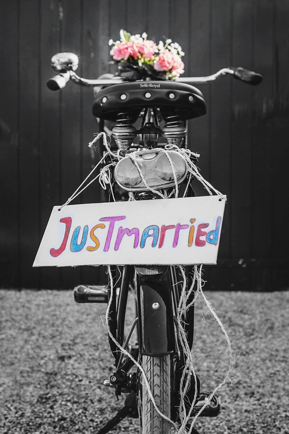 just married sign bike wedding photography lifestyle picturelyspoken