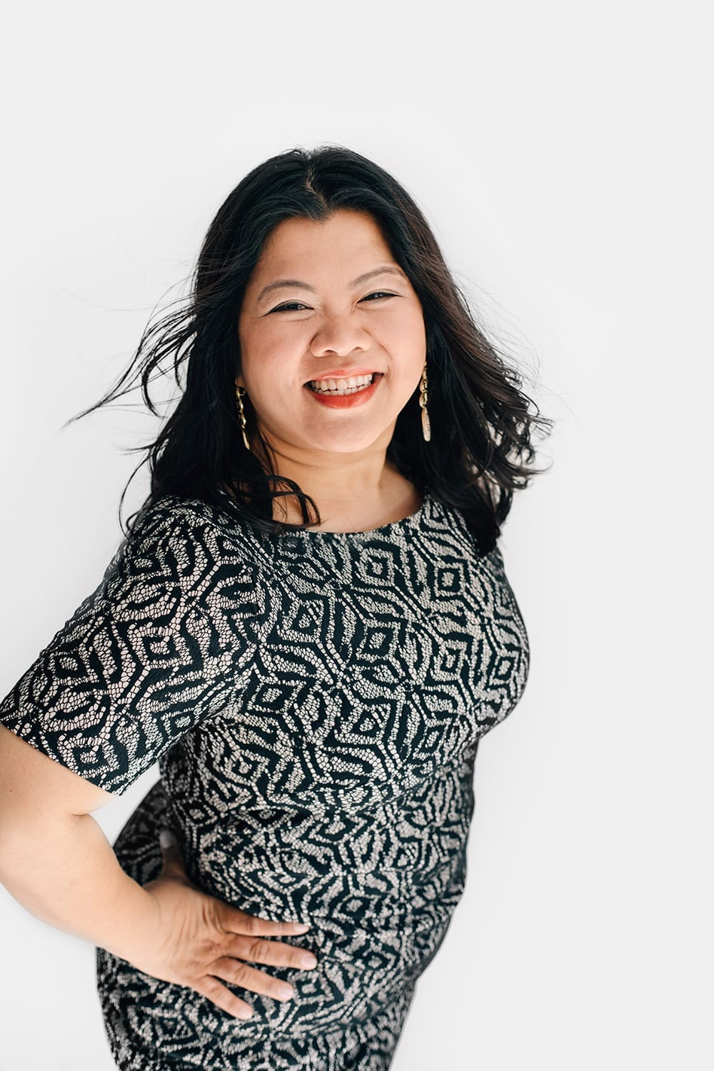 happy smiling asian woman portrait with white background for professional personal branding