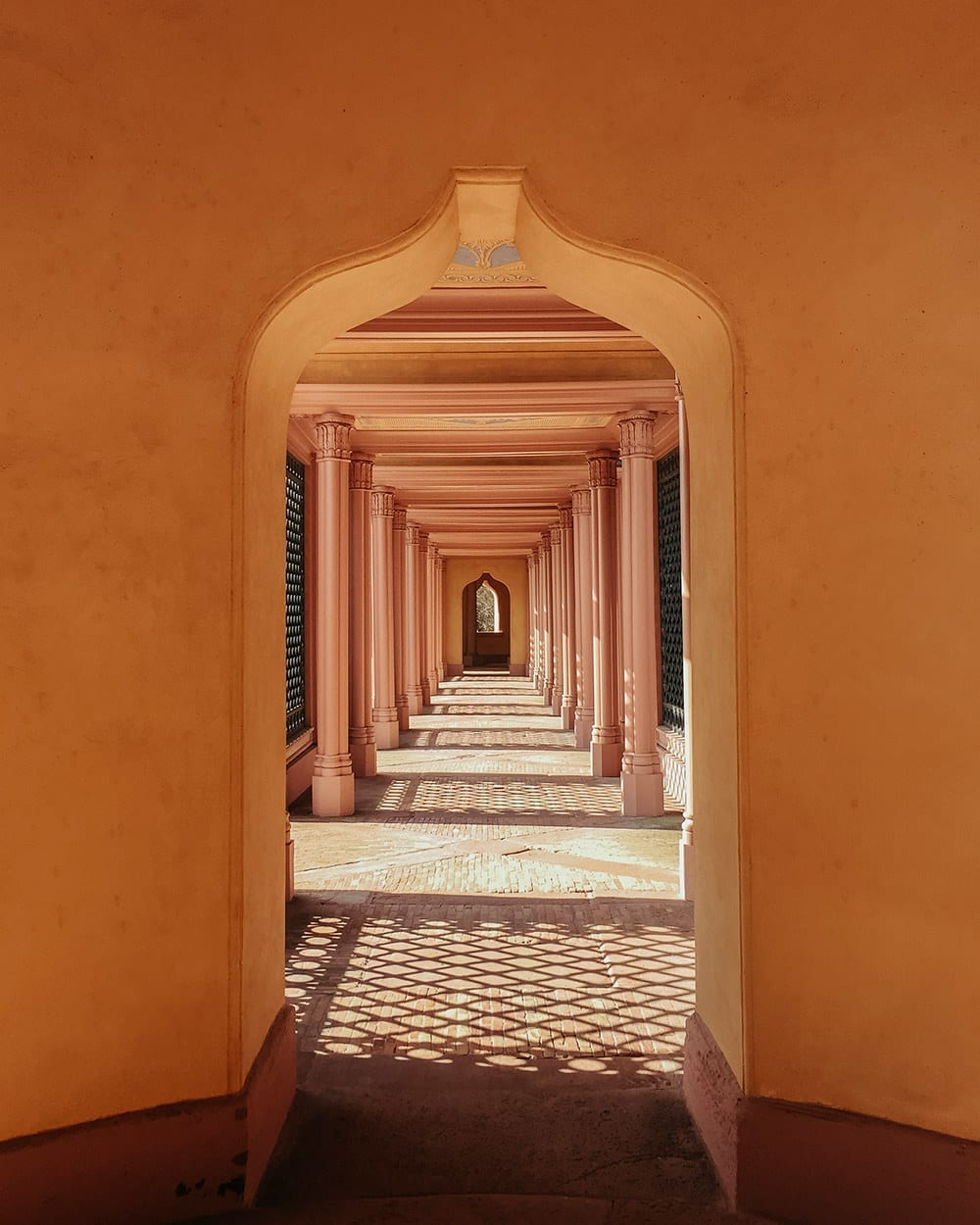 An orange perspective shot of mosque in Schwetzingen castle in Germany
