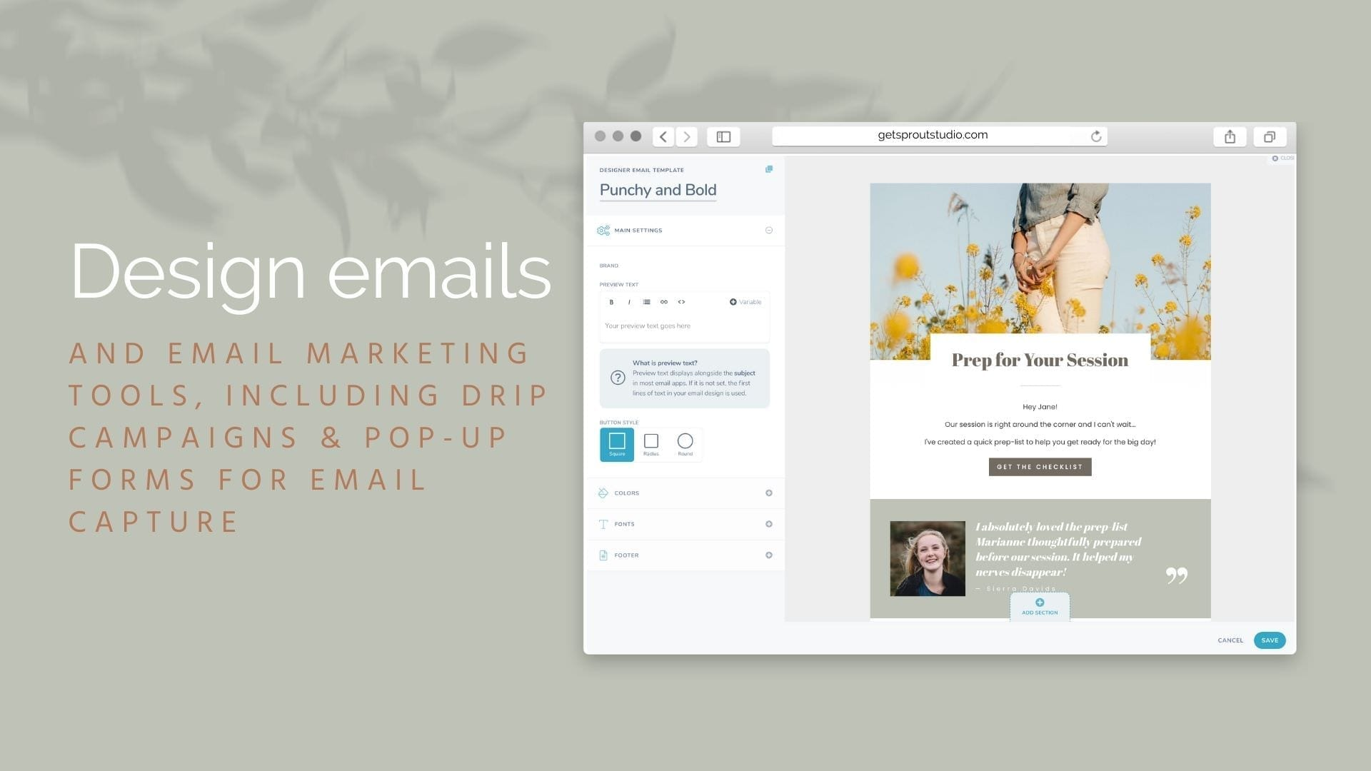 Screenshot of Sprout Studio design emails, a Client relation management system for photographers