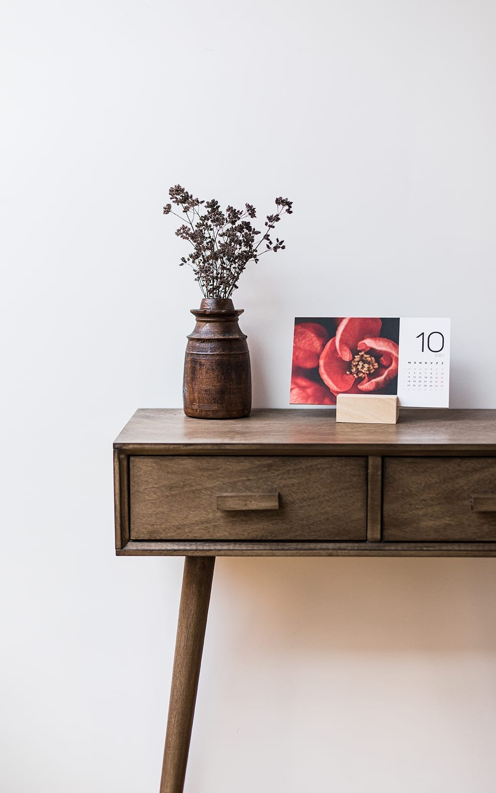 Interior with a macro flower nature calendar