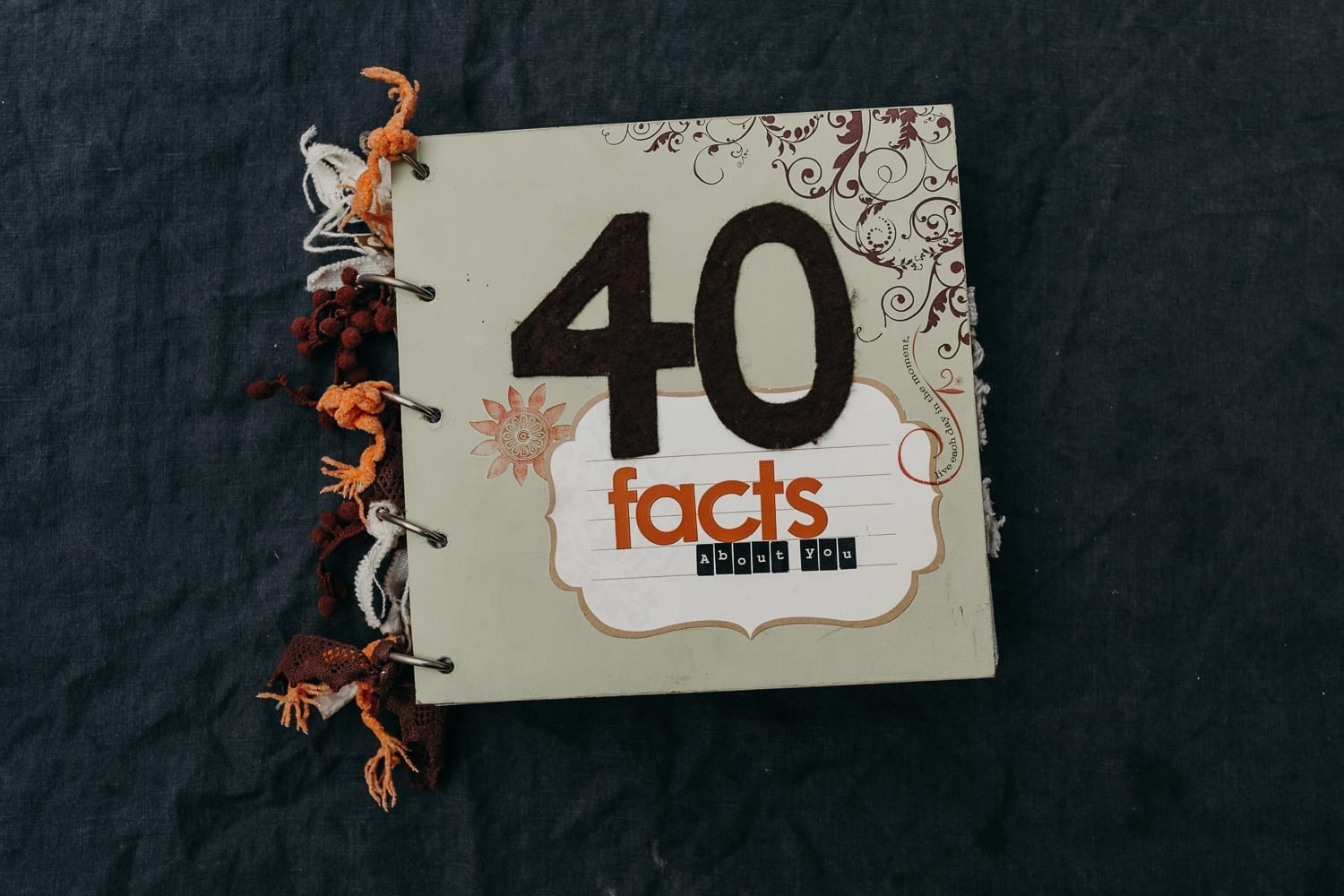 picture of a self-made scrapbooking photo album for a 40th birthday