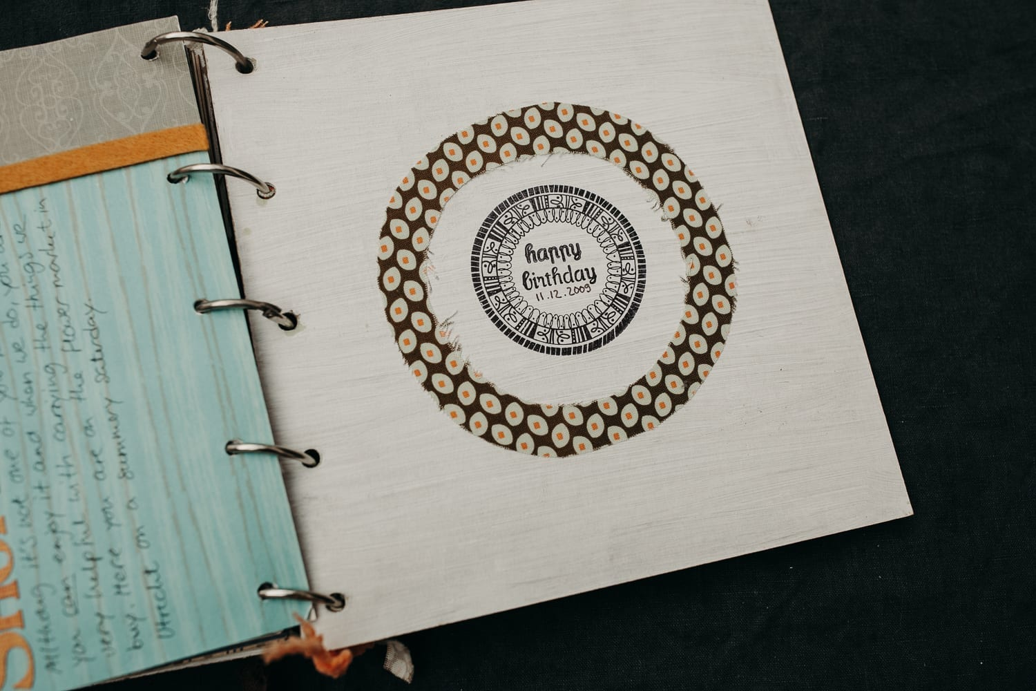 picture of a detail of a self-made scrapbooking photo album for a 40th birthday