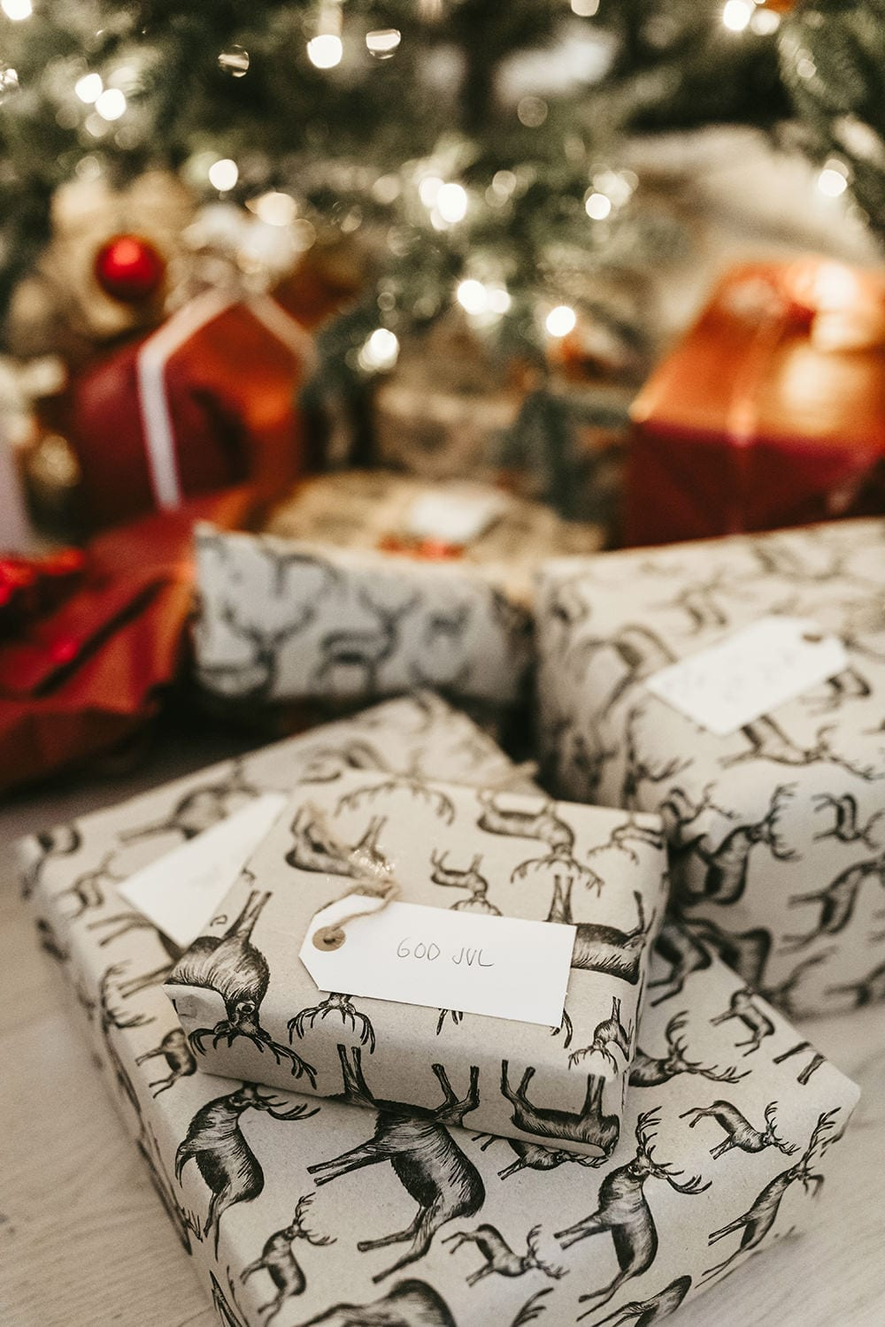 Christmas gifts wrapped in craft paper