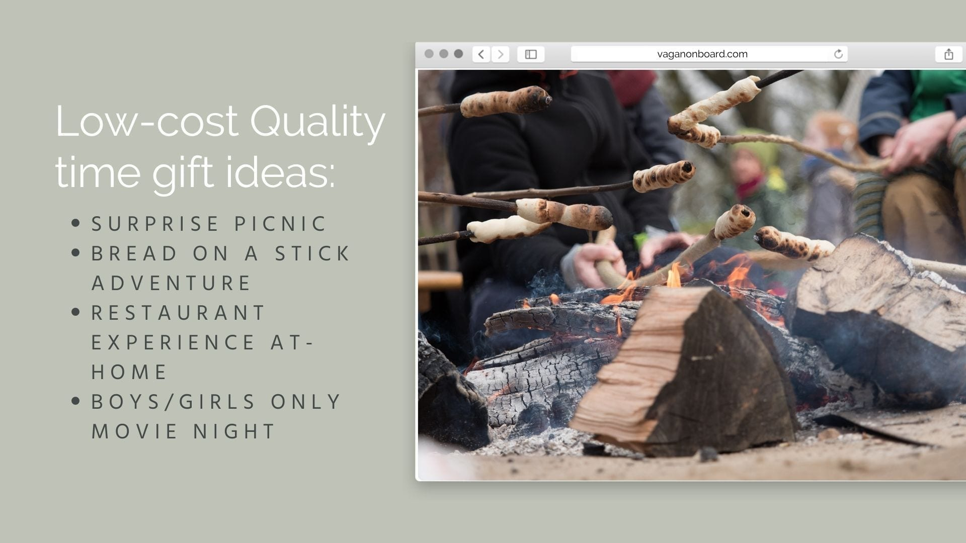 Ideas for low-cost quality time gifts, photo of bread on sticks fire adventure